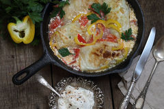 Stuffed cabbage stewed in sour cream with sweet pepper Royalty Free Stock Photo