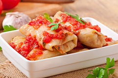 Stuffed cabbage with tomato sauce Royalty Free Stock Image
