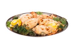Stuffed calamari. Meat dish on a plate with greens. Studio photography Stock Photos