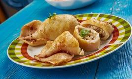 Stuffed Calamari with tuna. Klamar mimli - Stuffed Calamari with tuna and shrimps, Maltese cuisine Royalty Free Stock Photos
