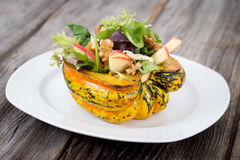 Stuffed Carnival Squash With Apple Nut Salad Stock Image
