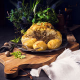 Stuffed cauliflower with mince and Hasselback potatoes Royalty Free Stock Images