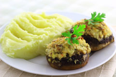 Stuffed champignon mushrooms Stock Photo