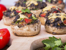 Stuffed champignons with eggs, cheese and paprika. Stock Image