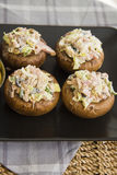 Stuffed champignons. Frech champignons, kitchen photo with copy space for text Stock Photo