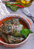 Stuffed chard leaves. In ceramic bowl Stock Photo