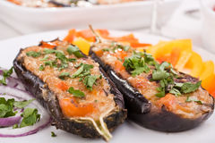 Stuffed with cheese aubergines Stock Photo