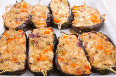 Stuffed with cheese and mushrooms aubergines Stock Photos