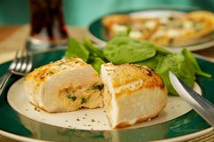 Stuffed Chicken Breast. A healthy homemade chicken breast with a spinach and cheese filling Stock Photo
