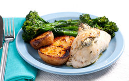Stuffed chicken breast with cheese and spinach Stock Photos