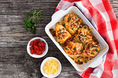 Stuffed chicken breast with ham, cheese, tomatoes, view from abo Royalty Free Stock Image