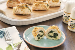Stuffed chicken breasts with spinach and cheese Royalty Free Stock Photography