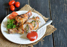 Stuffed chicken drumstick grilled Royalty Free Stock Photography