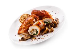 Stuffed chicken fillet with champignon stock photography