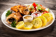 Stuffed chicken fillets and vegetables Royalty Free Stock Image