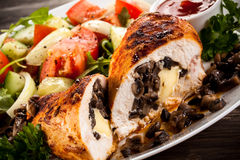 Stuffed chicken fillets and vegetables Royalty Free Stock Photo