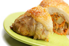Stuffed chicken on plate Stock Images