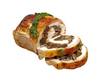 Stuffed Chicken roll with mushrooms. Royalty Free Stock Photo