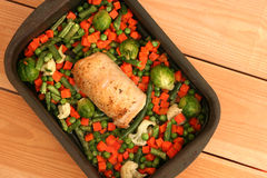 Stuffed chicken roll with vegetables Royalty Free Stock Photos