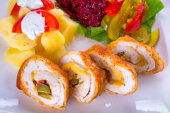 Stuffed Chicken Rolls Stock Photo