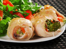 Stuffed chicken rolls. With broccoli and vegetables royalty free stock images