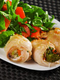 Stuffed chicken rolls Royalty Free Stock Images