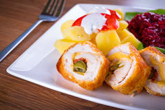 Stuffed chicken rolls Royalty Free Stock Image