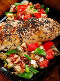 Stuffed chicken with salsa Royalty Free Stock Images