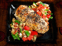 Stuffed chicken with salsa Royalty Free Stock Image