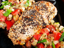 Stuffed chicken with salsa Royalty Free Stock Photography