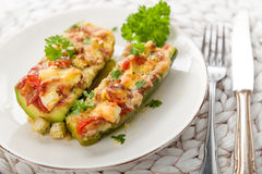 Stuffed courgettes Stock Photo