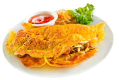 Stuffed crispy egg crepe Royalty Free Stock Photo