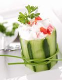 Stuffed cucumber with cheese and pepper Royalty Free Stock Photography