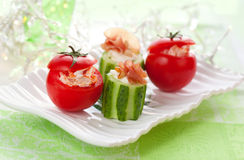 Stuffed cucumber and tomato Stock Photo