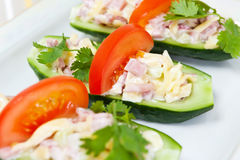Stuffed cucumbers Stock Images