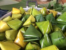 Stuffed Dough Pyramid Dessert called Ka Nhom Tian Thai Dessert. royalty free stock photos