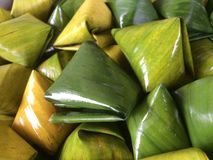Stuffed Dough Pyramid Dessert called Ka Nhom Tian Thai Dessert. royalty free stock photography