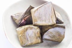 Stuffed dough pyramid dessert on plate up close Royalty Free Stock Image