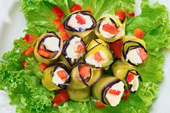Stuffed Egg plant rolls Royalty Free Stock Image