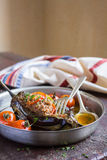 Stuffed eggplant or aubergine with minced meat Stock Photography