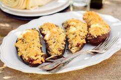 Stuffed Eggplant Halves Stock Images