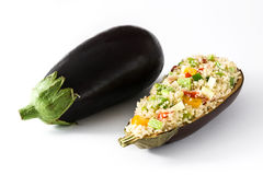 Stuffed eggplant with quinoa and vegetables, isolated Stock Photo