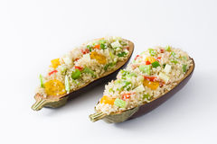 Stuffed eggplant with quinoa and vegetables, isolated Royalty Free Stock Images
