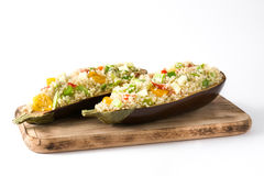 Stuffed eggplant with quinoa and vegetables, isolated Royalty Free Stock Image
