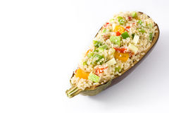 Stuffed eggplant with quinoa and vegetables, isolated Stock Photography