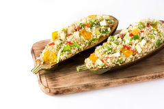 Stuffed eggplant with quinoa and vegetables, isolated Stock Images