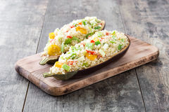 Stuffed eggplant with quinoa and vegetables Royalty Free Stock Photos