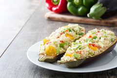 Stuffed eggplant with quinoa and vegetables Stock Images