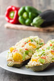Stuffed eggplant with quinoa and vegetables Royalty Free Stock Photography