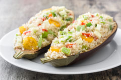 Stuffed eggplant with quinoa and vegetables Stock Photos
